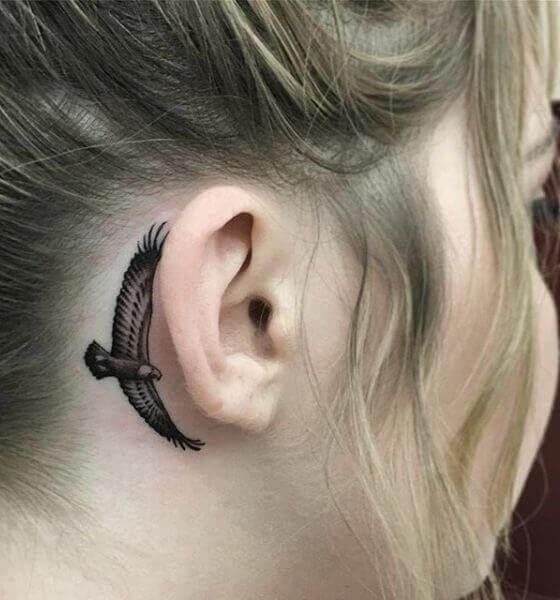 Eagle Tattoo on the ear Idea