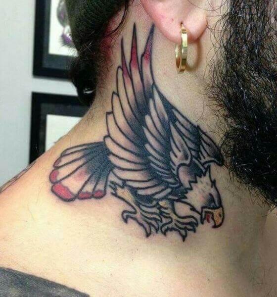 Eagle Tattoo on the neck 3