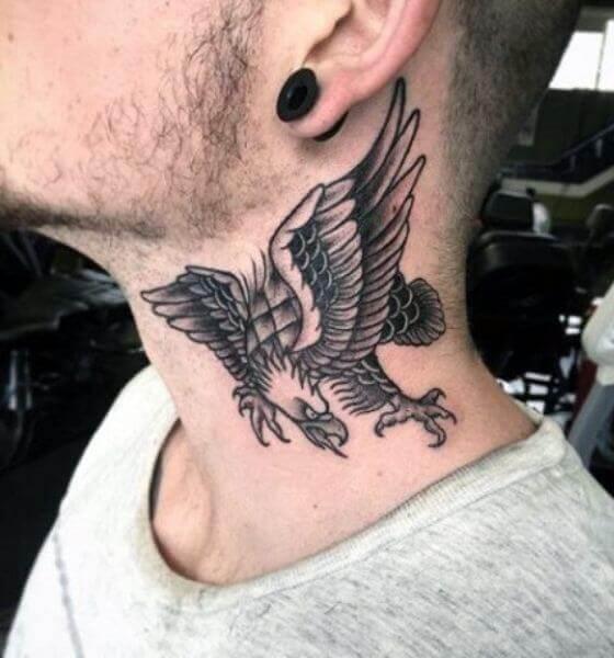 Eagle Tattoo on the neck 5