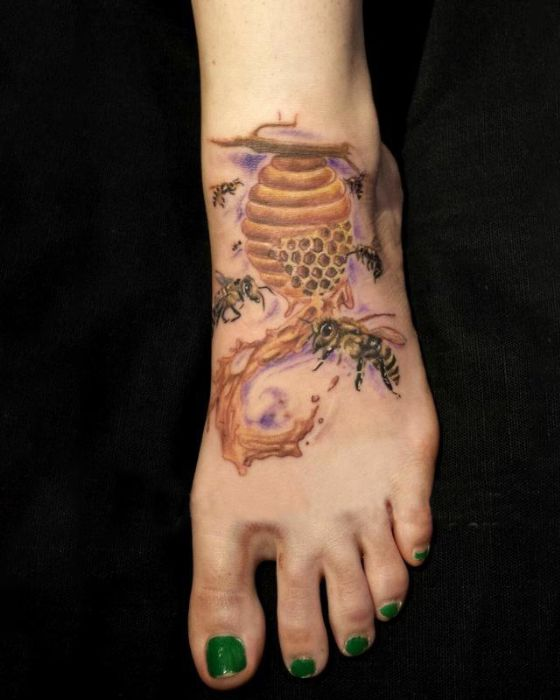 Honey Bee Tattoo with Beehive