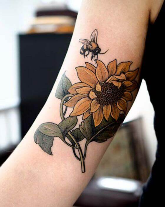 Honey Bee Tattoo with Flowers