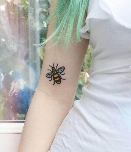 Honey bee tattoos on the arm