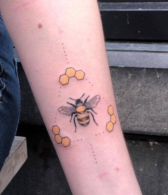 Honey bee tattoo on the forearm 3