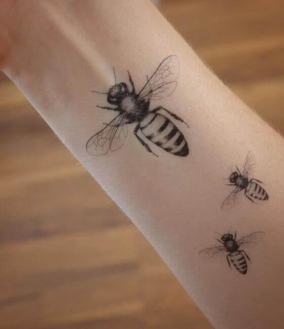 Multiple Honey bee tattoo on the forearm