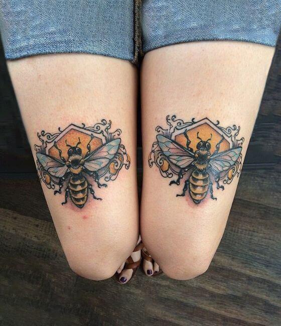 Honey bee tattoo ideas on the lower limb