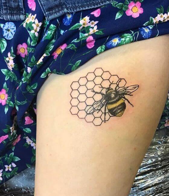 Honey bee tattoo designs on the lower limb