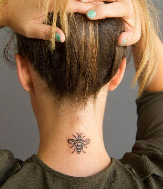 Honey bee tattoo on the Women neck