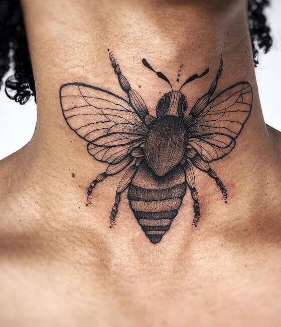 Honey bee tattoo on the neck 2