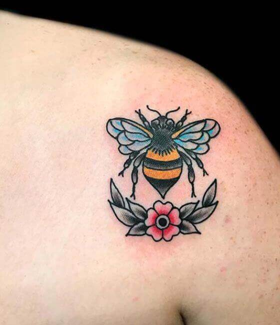 Honey bee tattoo on the shoulder 3