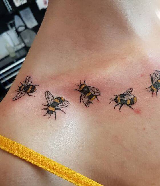 Honey bee tattoo on the shoulder 4