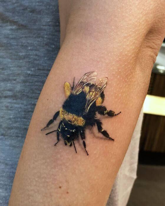Realistic Honey Bee Tattoo