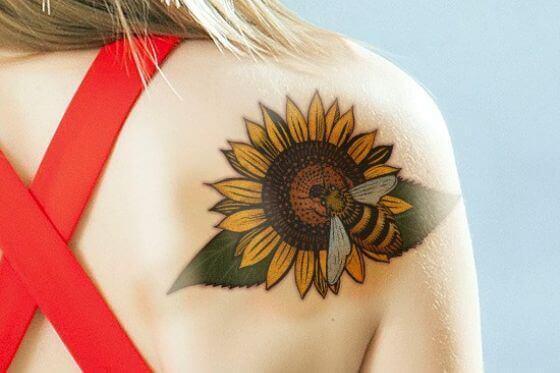 Sunflower Honey Bee Tattoo on girl's back shoulder (1)
