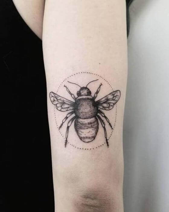 Sweet Honey Bee Tattoo in a Dotted Circle
