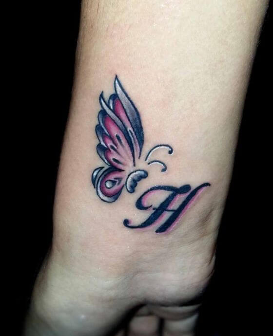 Name Initial with Butterfly Tattoo Designs