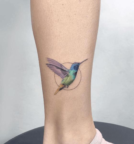 Colorful Abstract Hummingbird Tattoo