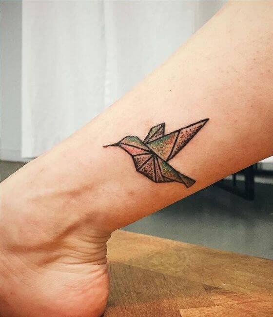Small Origami Hummingbird Tattoos On Ankle