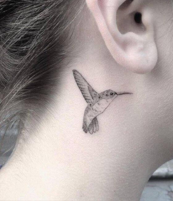 Best Hummingbird Tattoo Ideas On Behind the ear