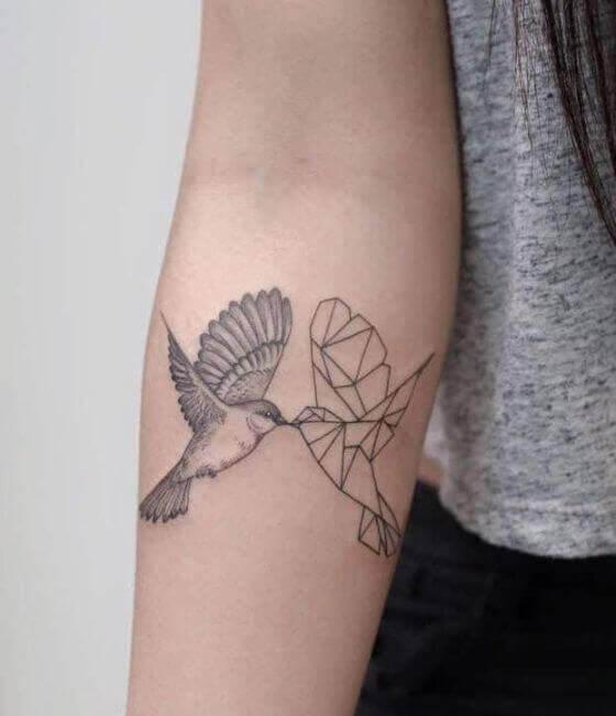 Origami Hummingbird Tattoos On Forearm