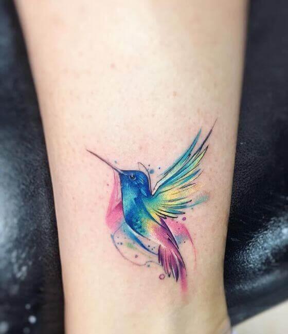Hummingbird Tattoos On Leg