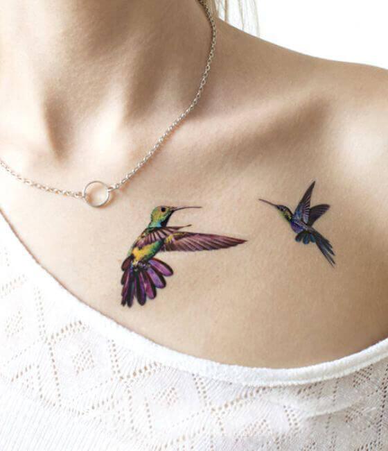 Tiny Hummingbird Tattoo On Women Shoulder