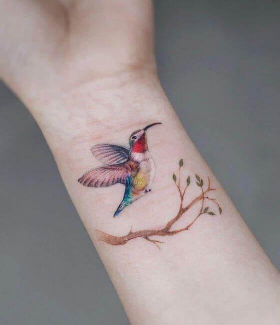 Colorful Hummingbird Tattoo On Wrist