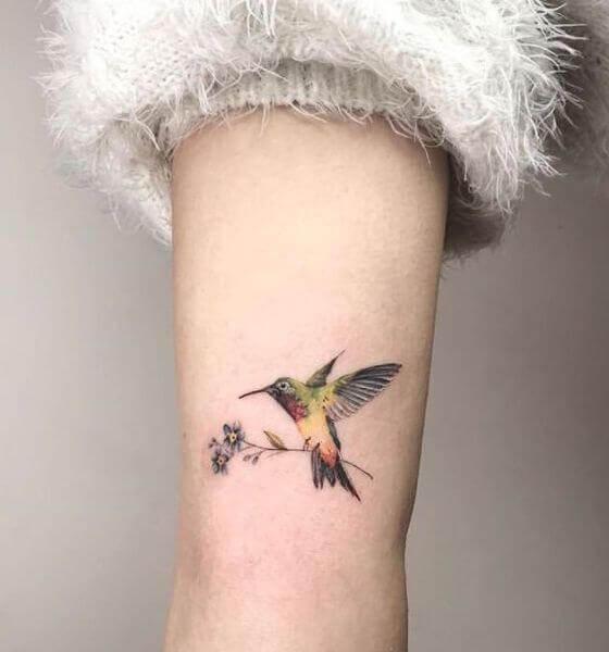 Hummingbird Tattoo ideas with Flowers