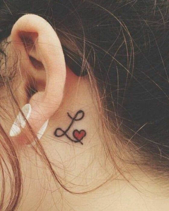 Initial Tattoo on Behind the Ear