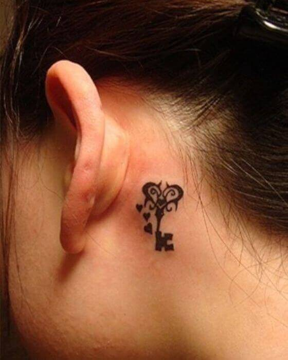 Beautiful Initial Tattoo Designs on Behind the Ear