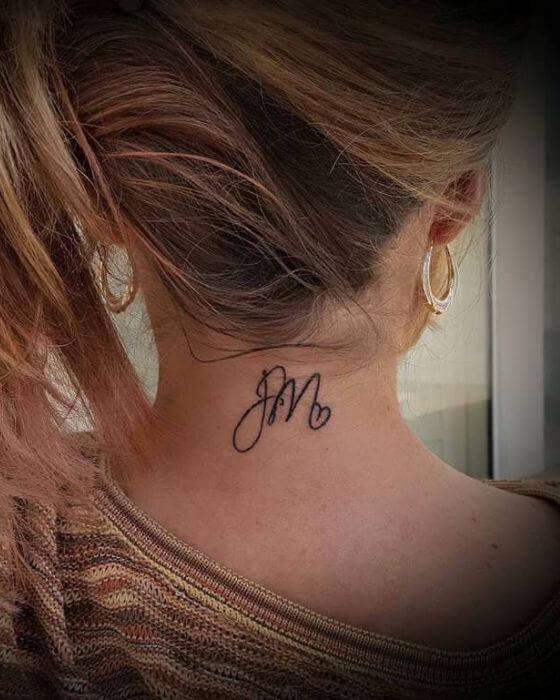 Initial Tattoo Ideas on neck