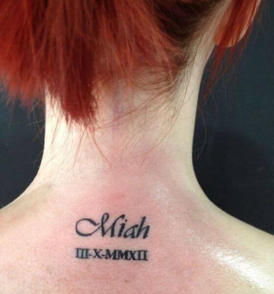 Roman Numeral Name Tattoo Idea