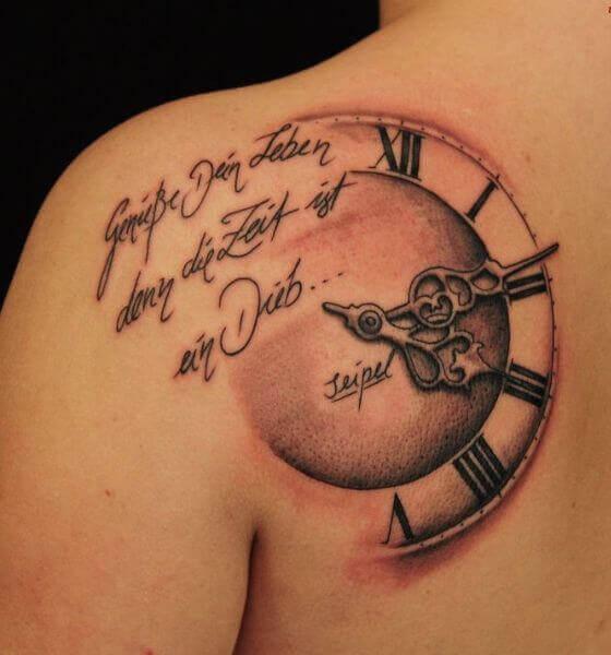 Roman Numerals Clock Tattoo Design