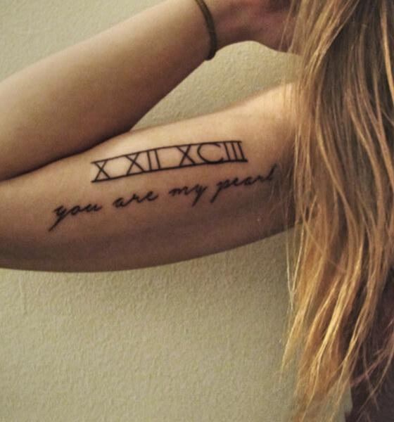 Beautiful Roman Numerals Tattoo on The Arm