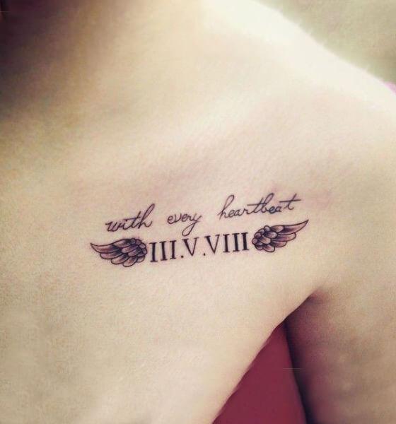 Roman Numerals Chest tattoo ideas