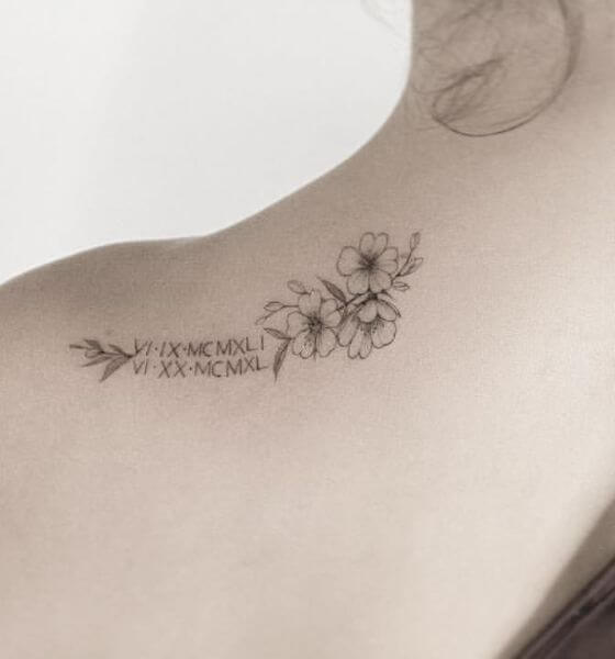 Roman Numerals with flower Tattoo ideas on Shoulder