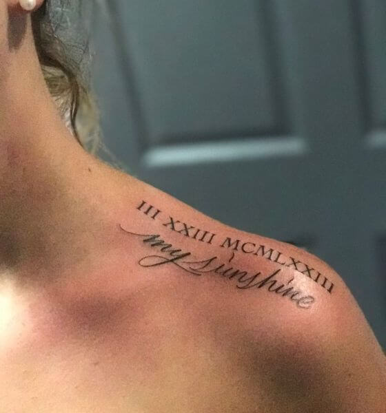 Roman Numeral Name Tattoo on The Shoulder