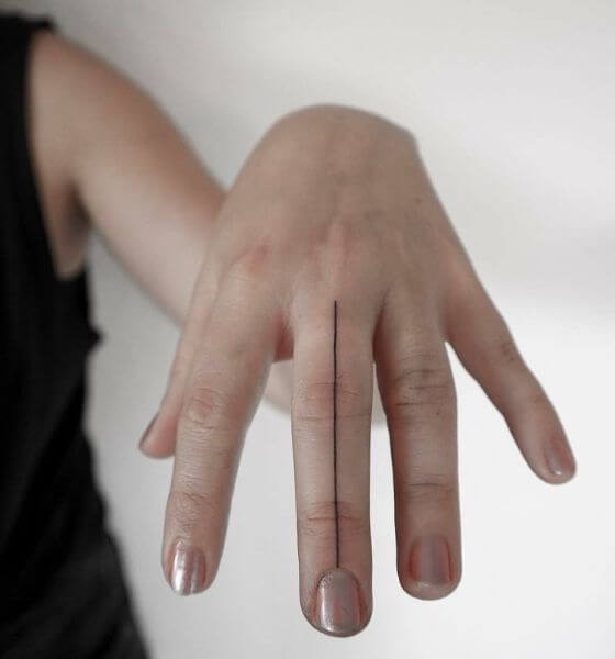 Abstract Line Finger Tattoo