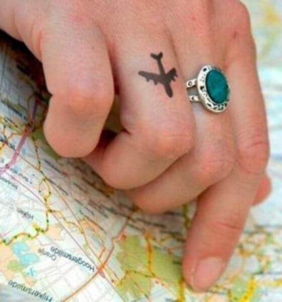 Airplane Finger Tattoo Design for Women