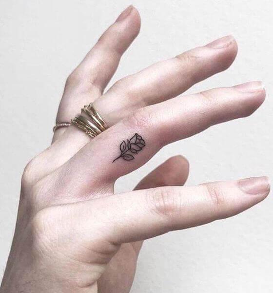 Black Rose Finger Tattoo for Women