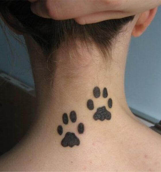 Dog paws neck tattoo