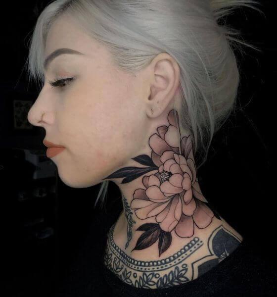 Beautiful Flower tattoo on neck