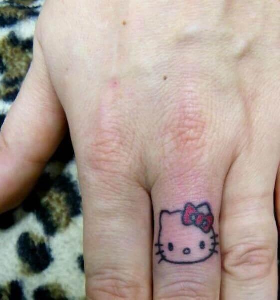 Hello Kitty Finger Tattoo