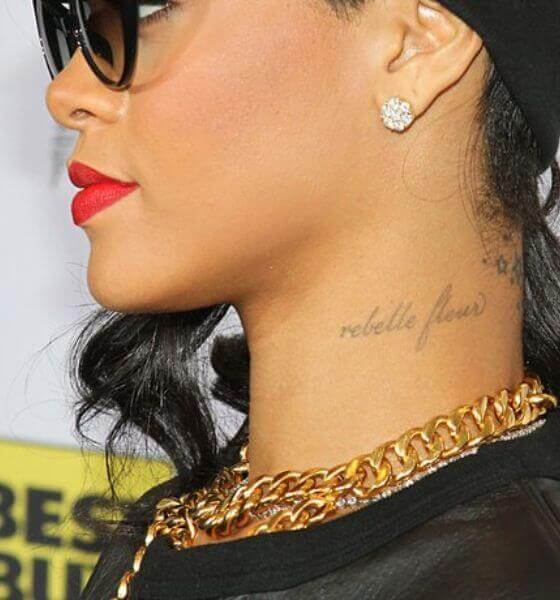 Rebelle Fleur on her neck - Rihanna's tattoo