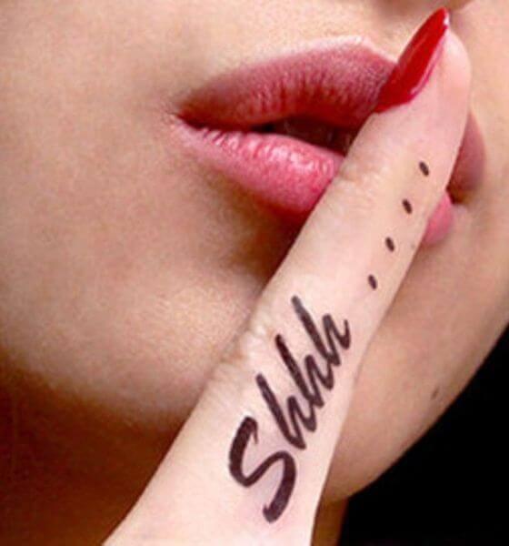 Shhh Finger Tattoo
