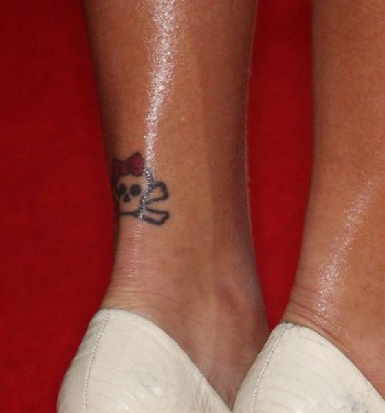 Skull and crossbones on her ankle - Rihanna's tattoo