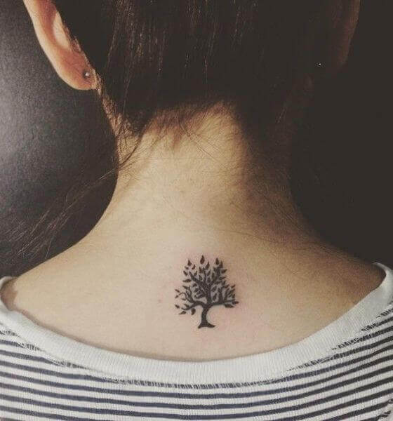 Tree neck tattoo design