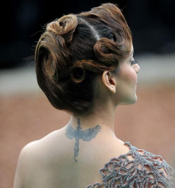 Warrior angel tattoo on neck