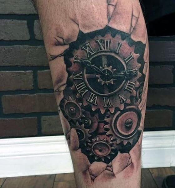 3D Clock Tattoo Design