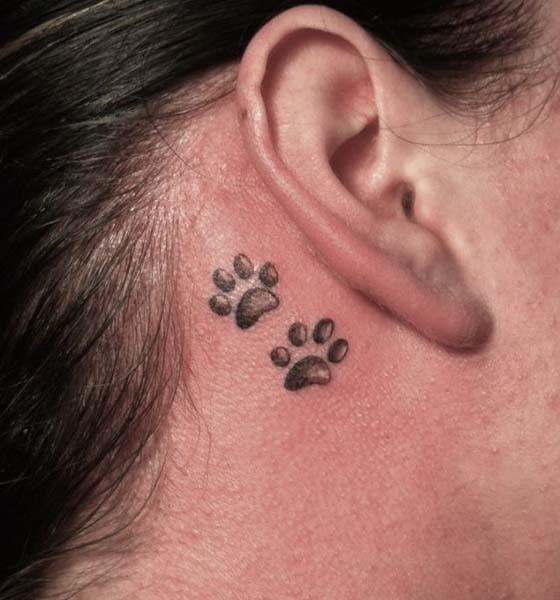 Bear Paw Print Tattoo on Behind the Ear