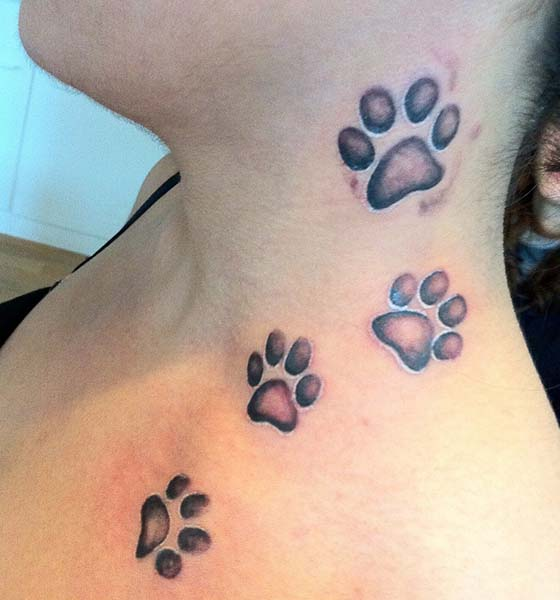 Bear Paw Print Tattoo on Neck