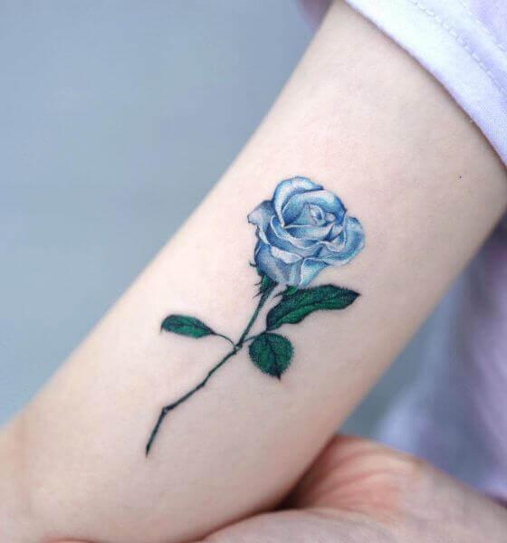 Beautiful Blue rose tattoo design
